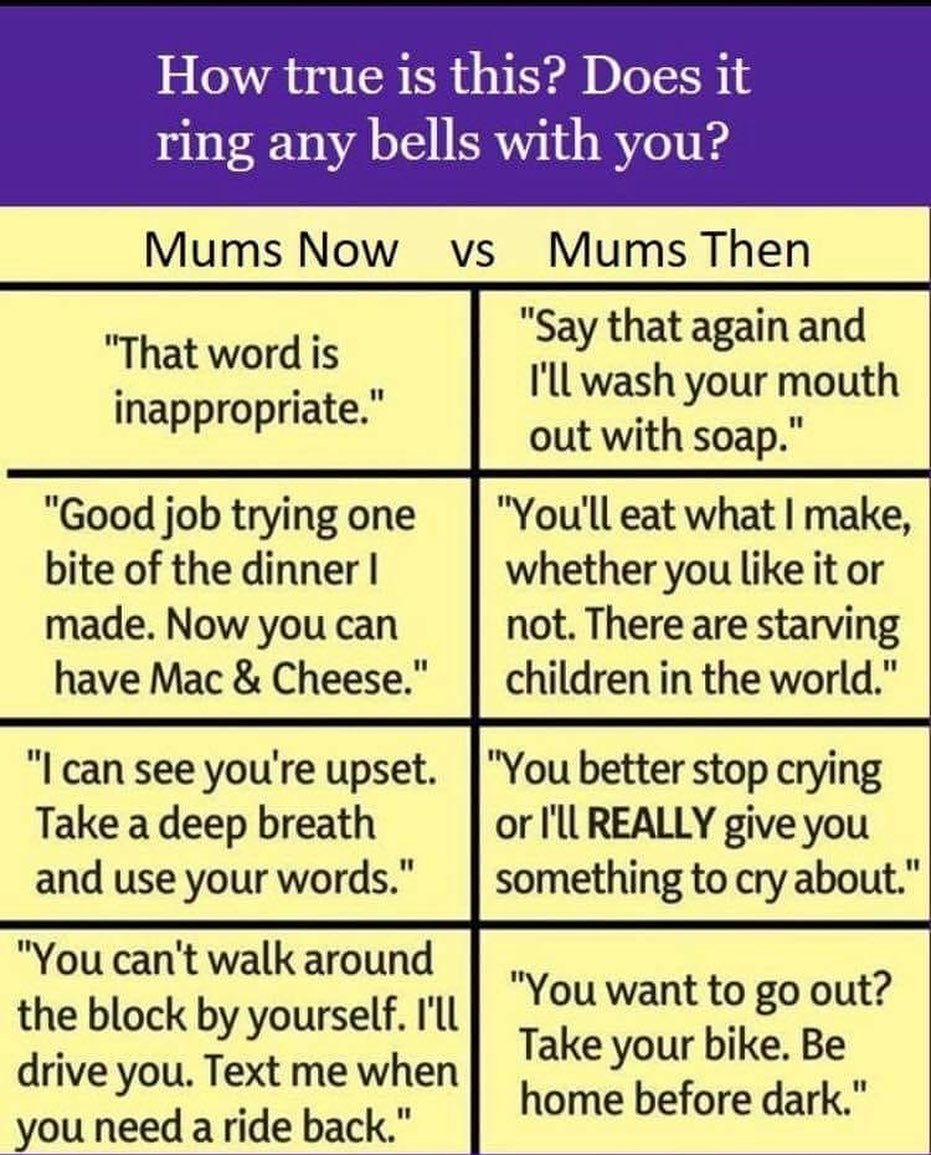 Oh how times have changed …..parentingmemes